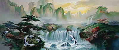 Waterfall Pines and Cranes Wall Mural DS6022