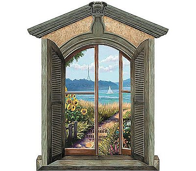 Chateau Window Mural - Coastal II FFM10407M