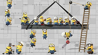 MINIONS AT WORK XL MURAL