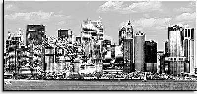 NYC Panoramic Black & White One-piece Peel & Stick Canvas Wall Mural