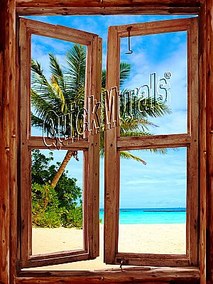 Pirates' Cove Cabin Window Mural One-piece Peel and Stick Canvas Wall Mural
