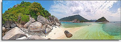 Tropical Beach Resort One-piece Peel & Stick Canvas Wall Mural