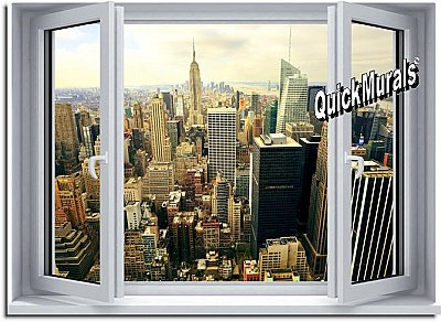 Big City Window 1-Piece Peel and Stick Mural
