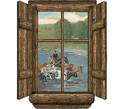 Log Window - Cattle Drive Accent Mural WK9881M