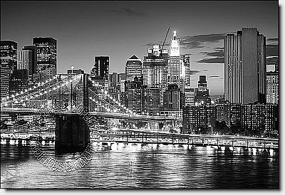 Brooklyn Bridge Black & White Peel & Stick Canvas Wall Mural