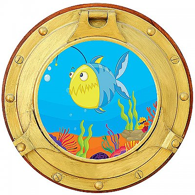 Cartoon Porthole #3 Peel & Stick Canvas Wall Mural