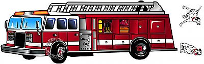 Fire truck And Dogs Mural MP4992M
