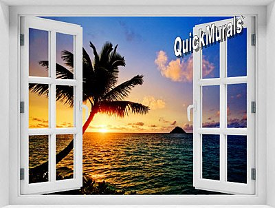 Hawaiian Sunset Window 1-Piece Peel & Stick Mural
