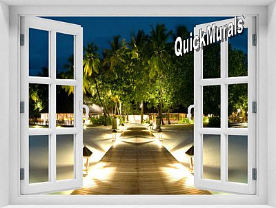 Mirihi Island at Night Window 1-Piece Peel and Stick Mural