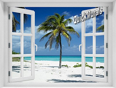 Palm Tree Window 1-Piece Peel & Stick Mural