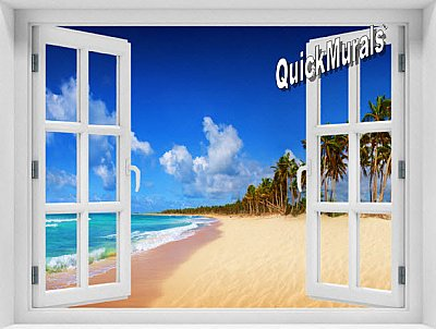 Seychelles Island Window 1-Piece Peel & Stick Mural
