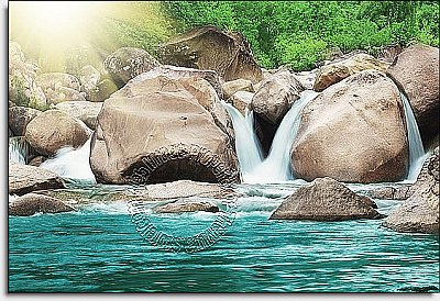 The First Waterfall Peel & Stick Canvas Wall Mural