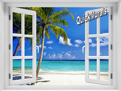 Tropical Ocean Window 1-Piece Peel & Stick Mural