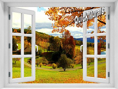 Vermont Farmhouse Window #2 One-Piece Peel and Stick Mural