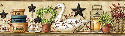 Rue Sand Swan Star Collage Border