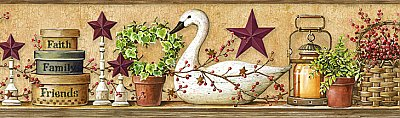 Rue Wheat Swan Star Collage Border