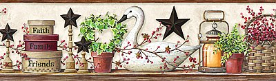 Rue White Swan Star Collage Border