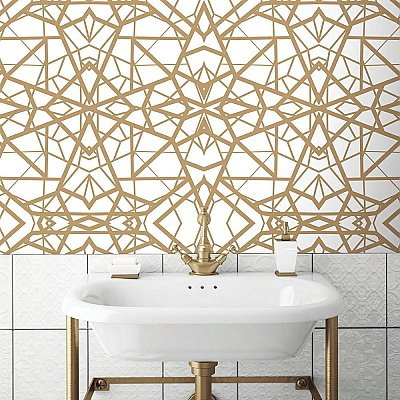 SHATTER GEOMETRIC WHITE/GOLD PEEL & STICK WALLPAPER