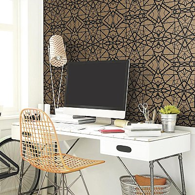 SHATTER GEOMETRIC GOLD/BLACK PEEL & STICK WALLPAPER
