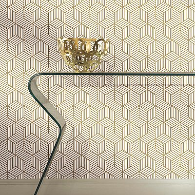 STRIPPED HEXAGON WHITE/GOLD PEEL & STICK WALLPAPER