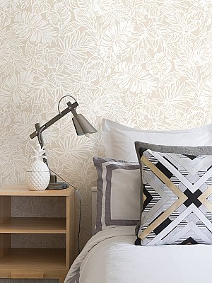 TROPICAL LEAF TAN PEEL & STICK WALLPAPER