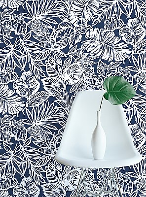 TROPICAL LEAF BLUE PEEL & STICK WALLPAPER