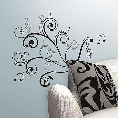 MUSIC NOTE SCROLL PEEL & STICK WALL DECALS