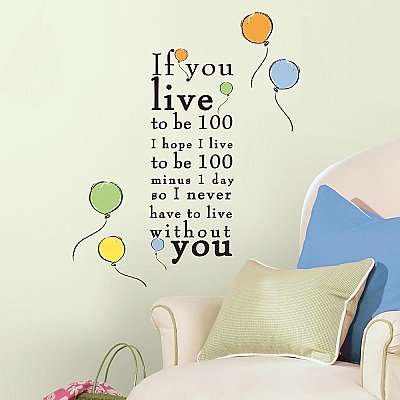 WINNIE THE POOH - 'LIVE TO BE 100' PEEL AND STICK WALL DECALS