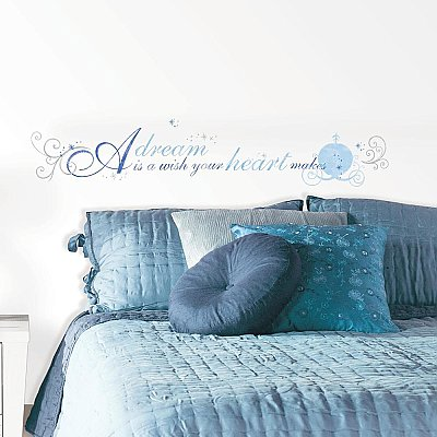 DISNEY PRINCESS - CINDERELLA 'A DREAM IS A WISH' PEEL AND STICK WALL DECALS