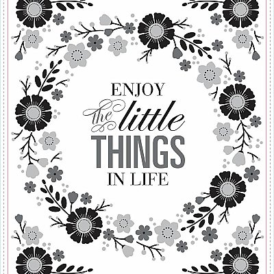 FLORAL WREATH QUOTE W/EMBELLISHMENTS PEEL AND STICK GIANT WALL DECALS