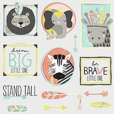 LITTLE EXPLORER ANIMAL GALLERY PEEL AND STICK WALL DECALS