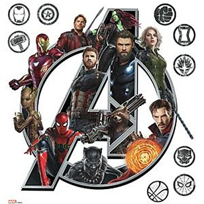 AVENGERS INFINITY WAR LOGO PEEL AND STICK GIANT WALL DECALS