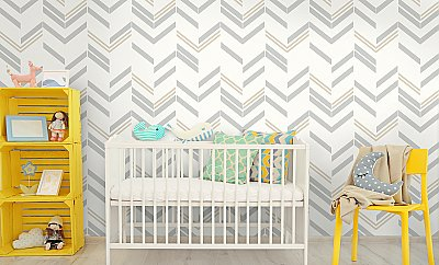 CHEVRON GREYSTRIPE PEEL & STICK WALLPAPER