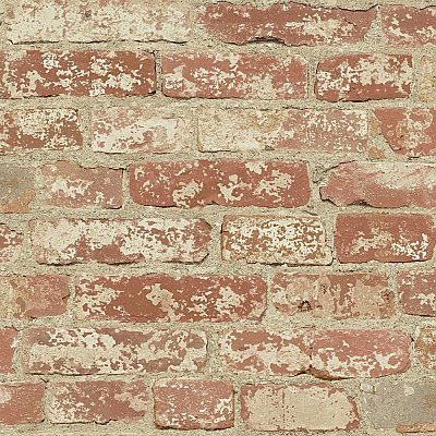 STUCCOED RED BRICK PEEL AND STICK WALLPAPER