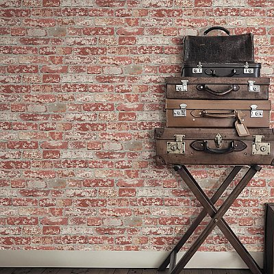 STUCCOED DARK RED BRICK PEEL AND STICK WALLPAPER