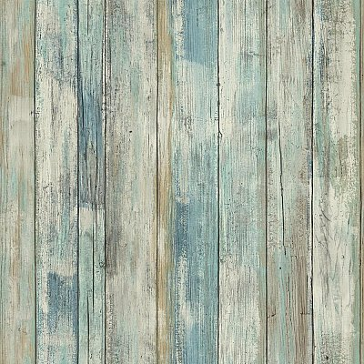 DISTRESSED WOOD BLUE PEEL AND STICK WALLPAPER