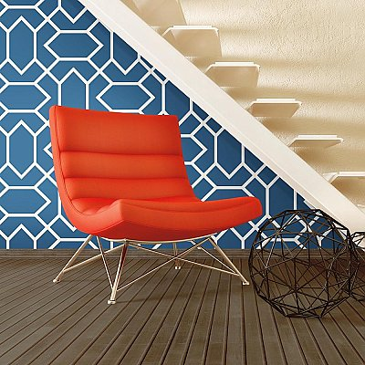 MODERN GEOMETRIC BLUE PEEL & STICK WALLPAPER