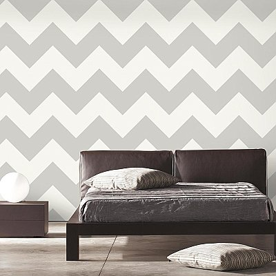 LARGE CHEVRON GREY PEEL & STICK WALLPAPER