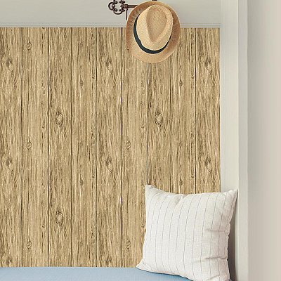 MUSHROOM WOOD BROWN PEEL & STICK WALLPAPER