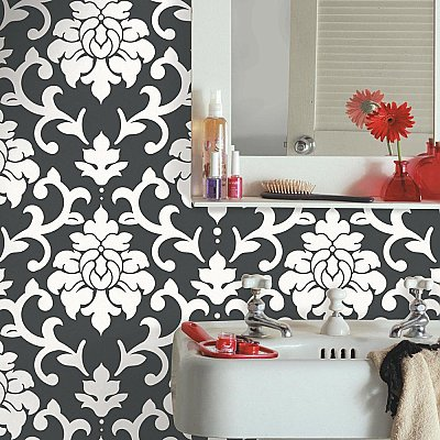 DAMASK BLACK PEEL & STICK WALLPAPER