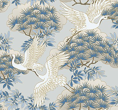 Sprig & Heron Wallpaper