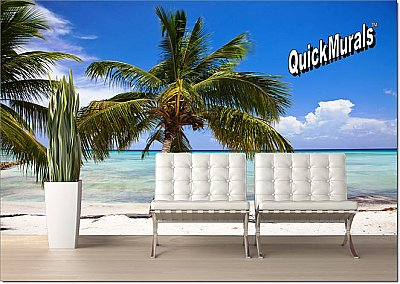 Tropical Beach Peel & Stick Canvas Wall Mural