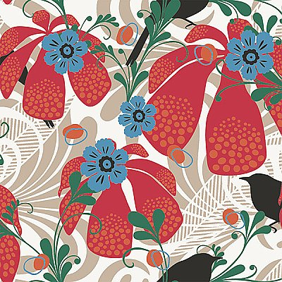 Waiola Red Tropical Floral Wallpaper