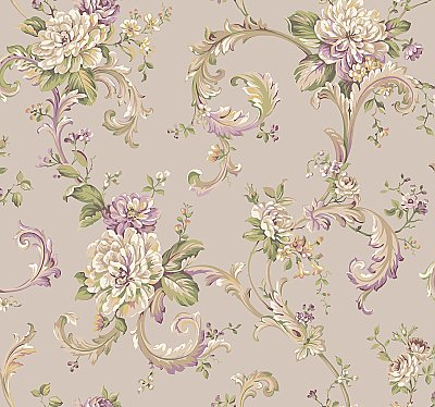 Arlington Floral Scroll Wallpaper