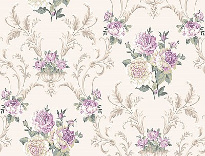 Arlington Floral Scrolling Wallpaper