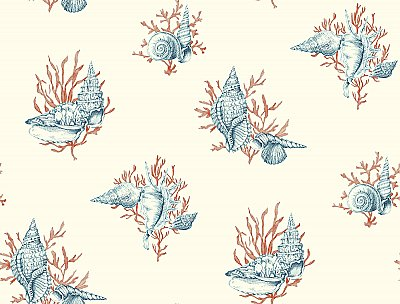 Ashford Toiles Shell Toile Wallpaper