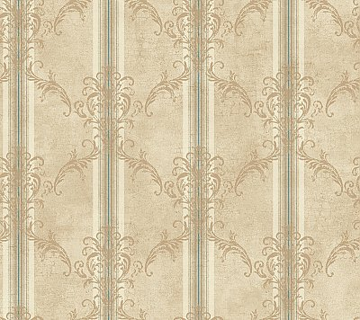 Classic Stripe W/Damask Trellis Wallpaper
