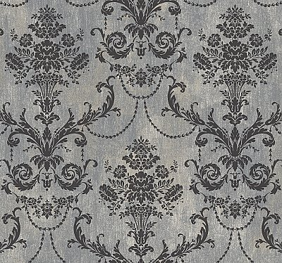 Framed Bouquet Damask Wallpaper
