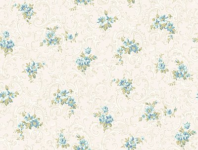 Full Floral Scroll Wallpaper