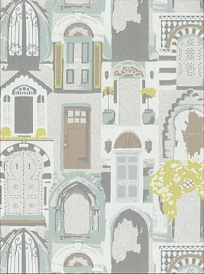 Knock, Knock Wallpaper - Silver/Mint